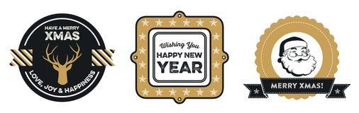 Set boże narodzenia i nowy rok odznaki Zdjęcia Stock