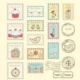 Set boże narodzenie poczta znaczki Fotografia Royalty Free