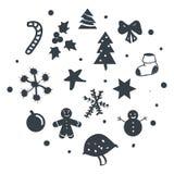 Set boże narodzenie projekta element w doodle stylu royalty ilustracja