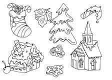 Set bożego narodzenia doodle ilustracji