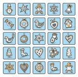 Set Bożenarodzeniowe ikony Obraz Stock