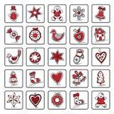 Set Bożenarodzeniowe ikony Zdjęcia Royalty Free