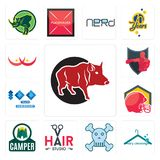 Set of boar, dry cleaning, skull and crossbones, hair studio, camper, football helmet, 100 year anniversary, boxing club, breast c. Set Of 13 simple  icons such Stock Photo