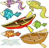 Set the boat, fish, net. vector illustration Stock Images