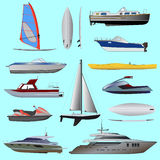 Set of boat. Sailing and motor boats Stock Image