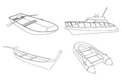 Set of Boat: Speedboat, Pirogue, Raft and Boat icon. Outline Vector Illustratio Stock Photography