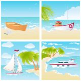 Set with boats on the beach. A set of four seascapes with different types of boats. Vector illustration of summer travel and tourism. Design for travel agency stock illustration