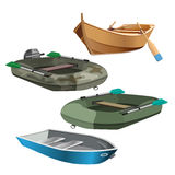 Set of boats realistic vector illustration isolated on white Stock Images