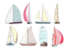 Set of boats with sails made in the vector Royalty Free Stock Photos