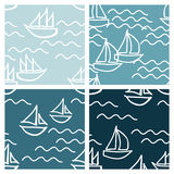 Boats on sea waves backgrounds. Set of boats on sea waves vector backgrounds Stock Photography