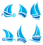 Set of boats ships or cruise logos. Set of boats ships or cruise with waves designs logo vector eps10 Royalty Free Stock Image