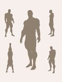 The set of 5 Body building silhouette Stock Photography