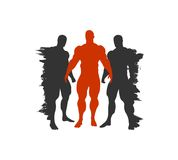 The set of 3 Body building silhouette Royalty Free Stock Photography
