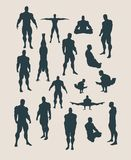 The set of body building silhouettes Royalty Free Stock Photography
