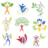 Set of Body Icons with Leaves / Foliage Elements Stock Image