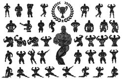 Set of bodybuilders. Vector illustration royalty free illustration