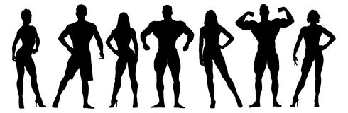 Set of bodybuilders vector silhouettes. Posing Stock Photography