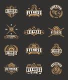 Set bodybuilding badges, stickers isolated on black. Stock Image