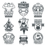 Set bodybuilding badges, stickers isolated on white. Royalty Free Stock Photography