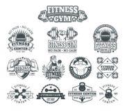 Set bodybuilding badges, stickers  on white. Royalty Free Stock Photo