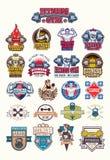 Set bodybuilding badges, stickers  on white. Stock Image