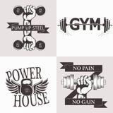 Set bodybuilding emblematy Sporta wyposażenie ilustracja wektor