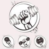 Set bodybuilding emblematy Sporta wyposażenie royalty ilustracja