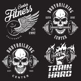 Set of bodybuilding emblems. With skull wings and sport equipment in white colour. Vector illustration stock illustration