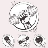 Set of bodybuilding emblems. Sport equipment royalty free illustration