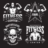 Set of bodybuilding emblems. With typography and sport equipment in white. Vector illustration stock illustration