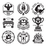Set of Bodybuilding and Fittness labels royalty free illustration