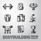 Set of Bodybuilding freehand icons with - dumbbell Stock Photos