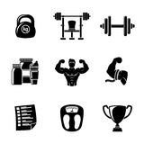 Set of Bodybuilding icons with - dumbbell, weight Royalty Free Stock Image