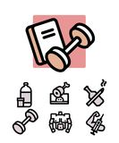 Set of bodybuilding icons Stock Photos