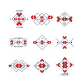 Set of bohemian style geometric symbols. Collection ethnic tribal elements in boho design. Stock Photos