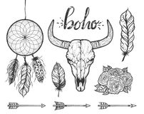 Set of Boho elements. Bull skull native Americans tribal style. Dotted Tattoo blackwork. Vector hand drawn illustration Royalty Free Stock Images
