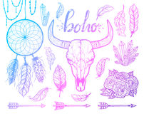 Set of Boho elements. Bull skull native Americans tribal style. Tattoo blackwork. Vector hand drawn illustration. Stock Images
