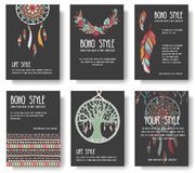 Set of boho ornament illustration style concept. Art traditional, poster, book, layout abstract, magazines, brochure. Vector decorative ethnic greeting card or Royalty Free Stock Photo