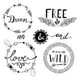 Set of Boho Style Frames and elements. Vector Stock Photography
