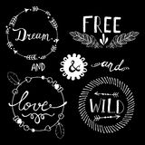 Set of Boho Style Frames and elements. Vector Stock Image