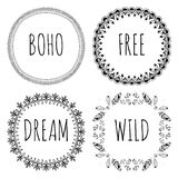 Set of Boho Style Frames and hand drawn elements. Set of Ornamental Boho Style Elements. Vector illustration. Royalty Free Stock Image