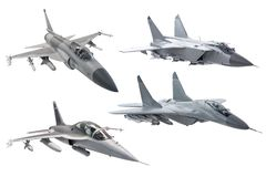 Set bojowy militarny wojsko myśliwa samolot odizolowywający na białym tle zdjęcia stock