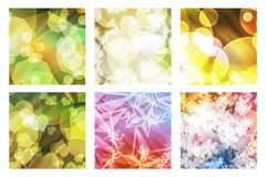 Set of bokeh. Set of six squares with an effect bright bokeh and a background in color Stock Images