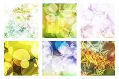 Set of bokeh. Set of six squares with an effect bright bokeh and a background in color Royalty Free Stock Photos