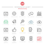 Set of Bold Stroke SEO and Development icons Set 1 Stock Images