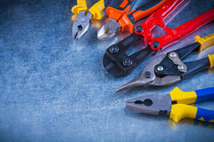 Set of bolt cutter tin snips cutting pliers Stock Photography