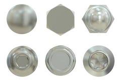 Set of bolt heads, 3D rendering vector illustration