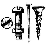 Set bolt, nail and nut Royalty Free Stock Photography