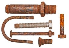 Set Bolt nut rusty isolated Stock Images