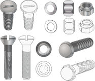 Set bolts and nuts Royalty Free Stock Photos
